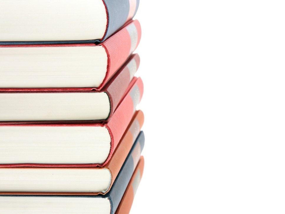 arranged books on desk